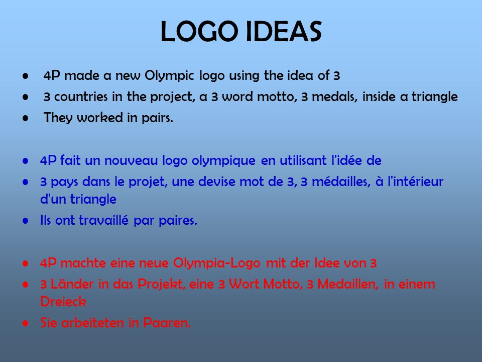 LOGO IDEAS 4P made a new Olympic logo using the idea of 3 3 countries in the project, a 3 word motto, 3 medals, inside a triangle They worked in pairs.