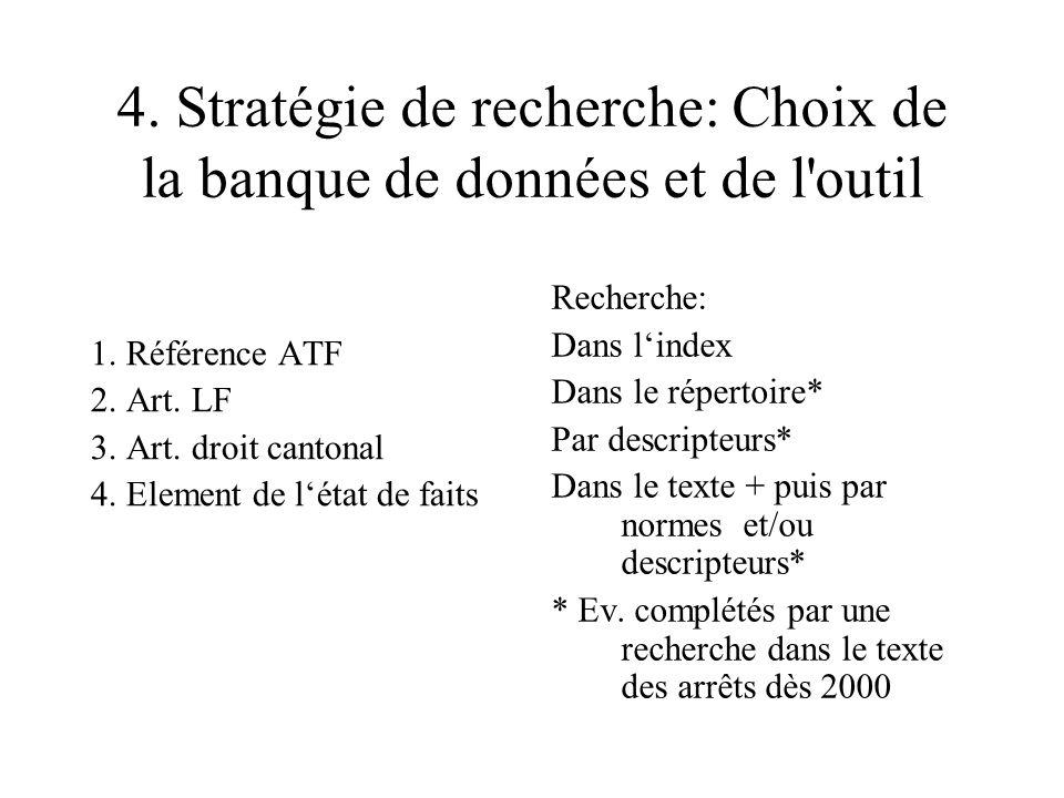 4. Stratégie de recherche: Choix de la banque de données et de l outil 1.