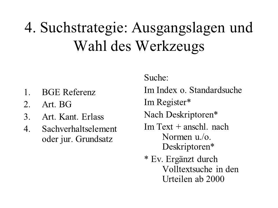 4. Suchstrategie: Ausgangslagen und Wahl des Werkzeugs 1.BGE Referenz 2.Art.