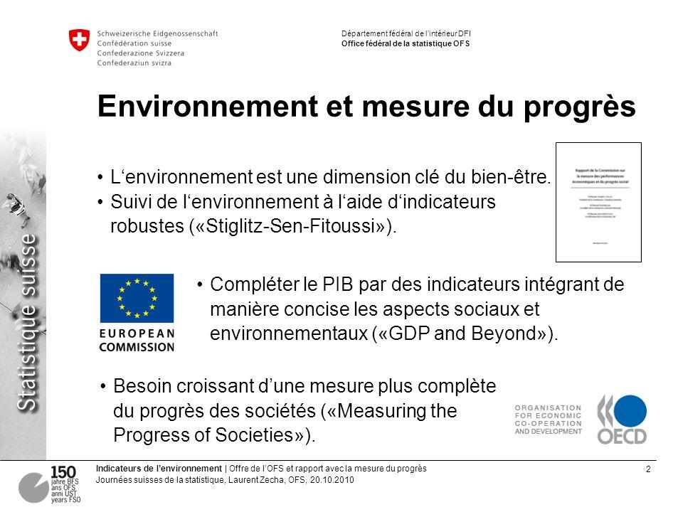 2 Indicateurs de lenvironnement | Offre de lOFS et rapport avec la mesure du progrès Journées suisses de la statistique, Laurent Zecha, OFS, 20.10.201
