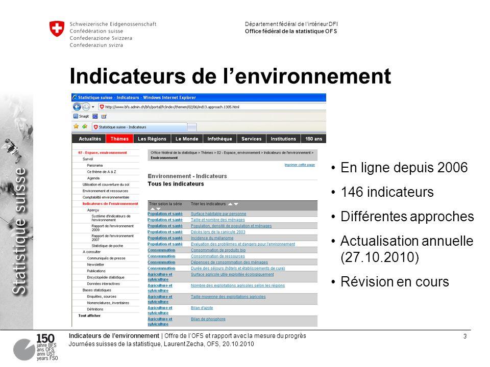 3 Indicateurs de lenvironnement | Offre de lOFS et rapport avec la mesure du progrès Journées suisses de la statistique, Laurent Zecha, OFS, 20.10.201
