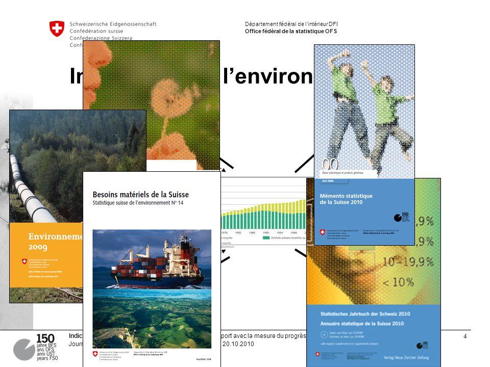 4 Indicateurs de lenvironnement | Offre de lOFS et rapport avec la mesure du progrès Journées suisses de la statistique, Laurent Zecha, OFS, 20.10.201