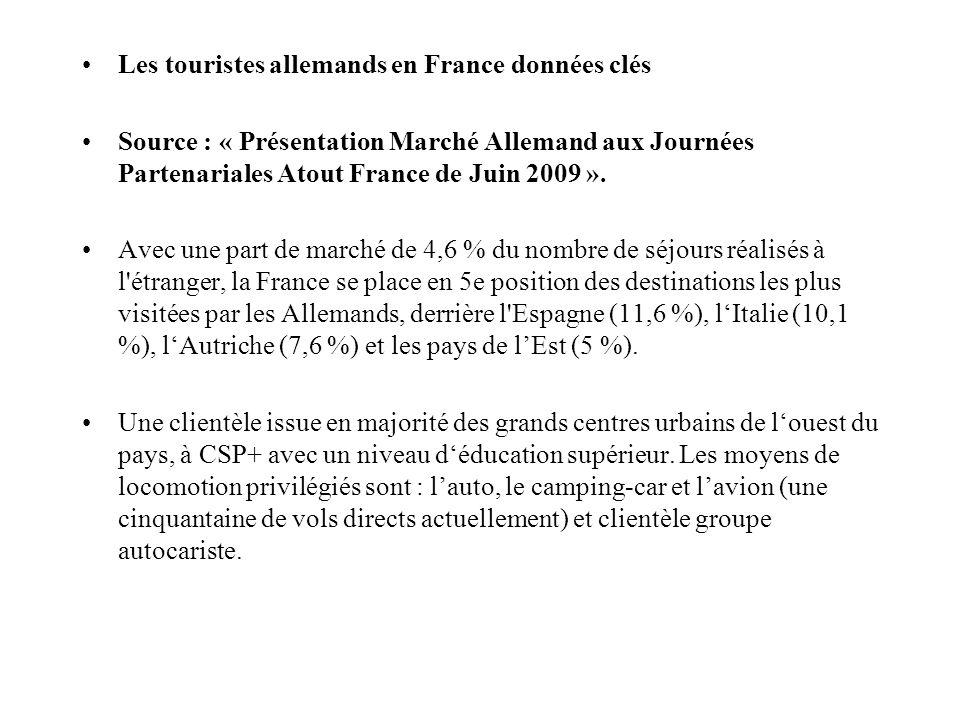 Les touristes allemands en France données clés Source : « Présentation Marché Allemand aux Journées Partenariales Atout France de Juin 2009 ».