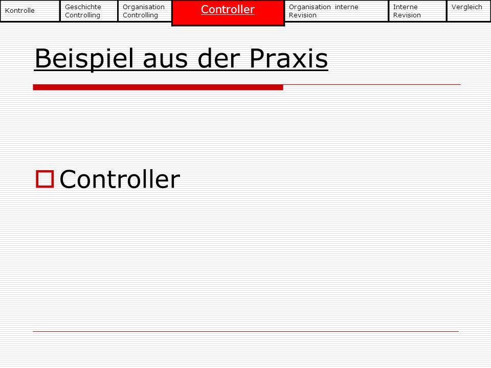 Beispiel aus der Praxis Geschichte Controlling Kontrolle Organisation Controlling Controller Organisation interne Revision Interne Revision Vergleich