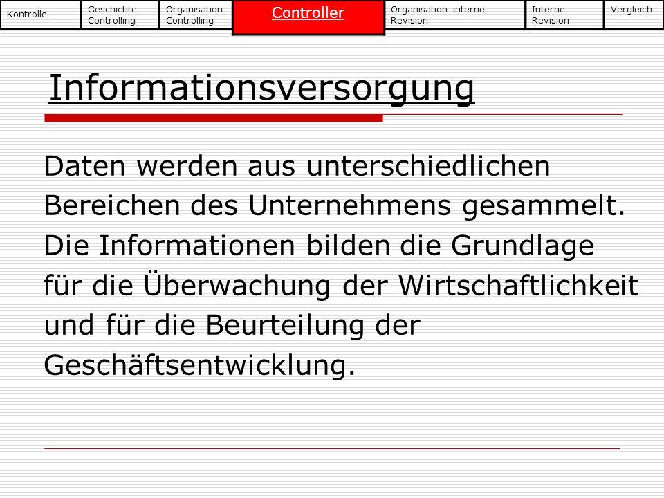 Informationsversorgung Daten werden aus unterschiedlichen Bereichen des Unternehmens gesammelt. Die Informationen bilden die Grundlage für die Überwac