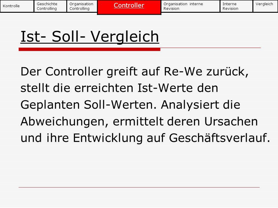 Ist- Soll- Vergleich Der Controller greift auf Re-We zurück, stellt die erreichten Ist-Werte den Geplanten Soll-Werten. Analysiert die Abweichungen, e