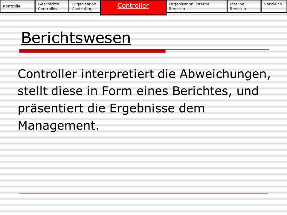 Berichtswesen Controller interpretiert die Abweichungen, stellt diese in Form eines Berichtes, und präsentiert die Ergebnisse dem Management. Geschich