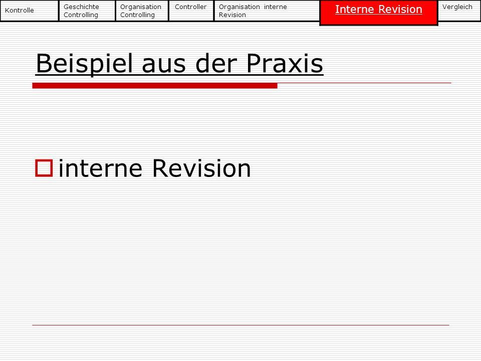Beispiel aus der Praxis interne Revision Geschichte Controlling Kontrolle Organisation Controlling ControllerOrganisation interne Revision Interne Rev