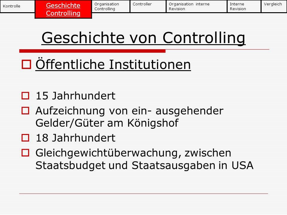 Geschichte von Controlling Öffentliche Institutionen 15 Jahrhundert Aufzeichnung von ein- ausgehender Gelder/Güter am Königshof 18 Jahrhundert Gleichg