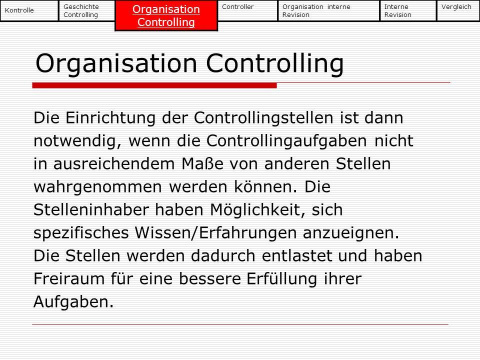 Organisation Controlling Die Einrichtung der Controllingstellen ist dann notwendig, wenn die Controllingaufgaben nicht in ausreichendem Maße von ander