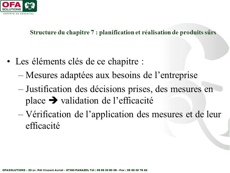 OFASOLUTIONS – 20 av. Pdt Vincent Auriol – 87350 PANAZOL Tél : 05 55 30 80 08 - Fax : 05 55 30 78 62 Structure du chapitre 7 : planification et réalis