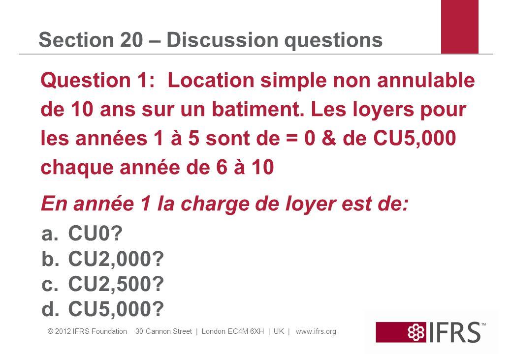 © 2012 IFRS Foundation 30 Cannon Street | London EC4M 6XH | UK | www.ifrs.org 3 Section 20 – Discussion questions Question 2: Le 1/1/20X1 A a vendu une machine à une banque et la relouée pour 3ans.