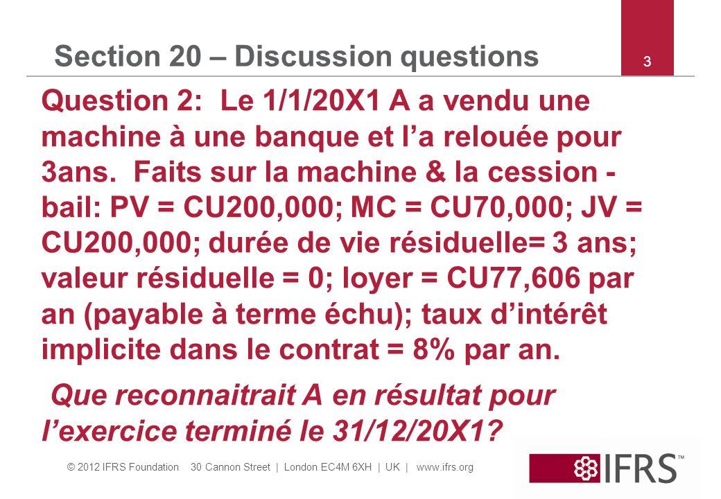 © 2012 IFRS Foundation 30 Cannon Street | London EC4M 6XH | UK | www.ifrs.org 4 Section 20 – Discussion questions Question 2 suite : a.CU130,000 plus value sur la vente de limmo & CU77,606 de charge de loyer.