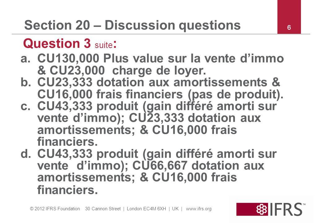© 2012 IFRS Foundation 30 Cannon Street | London EC4M 6XH | UK | www.ifrs.org 7 Section 21 – Discussion questions Question 3*: les provisions sont mesurées à la meilleure estimation du montant requis pour régler lobligation à la date du bilan.