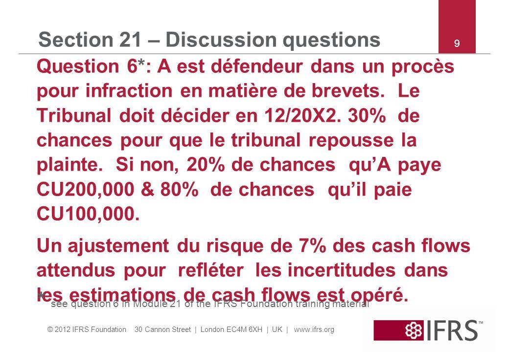 © 2012 IFRS Foundation 30 Cannon Street | London EC4M 6XH | UK | www.ifrs.org 10 Section 21 – Discussion questions Question 6 suite : Un taux dactualisation approprié est 10% par an.