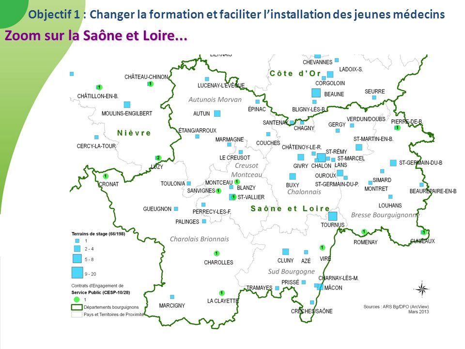 Objectif 1 : Changer la formation et faciliter linstallation des jeunes médecins Zoom sur la Saône et Loire...