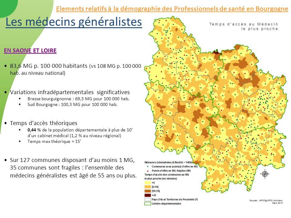 Les médecins généralistes EN SAONE ET LOIRE 83,6 MG p. 100 000 habitants (vs 108 MG p. 100 000 hab. au niveau national) Variations infradépartementale