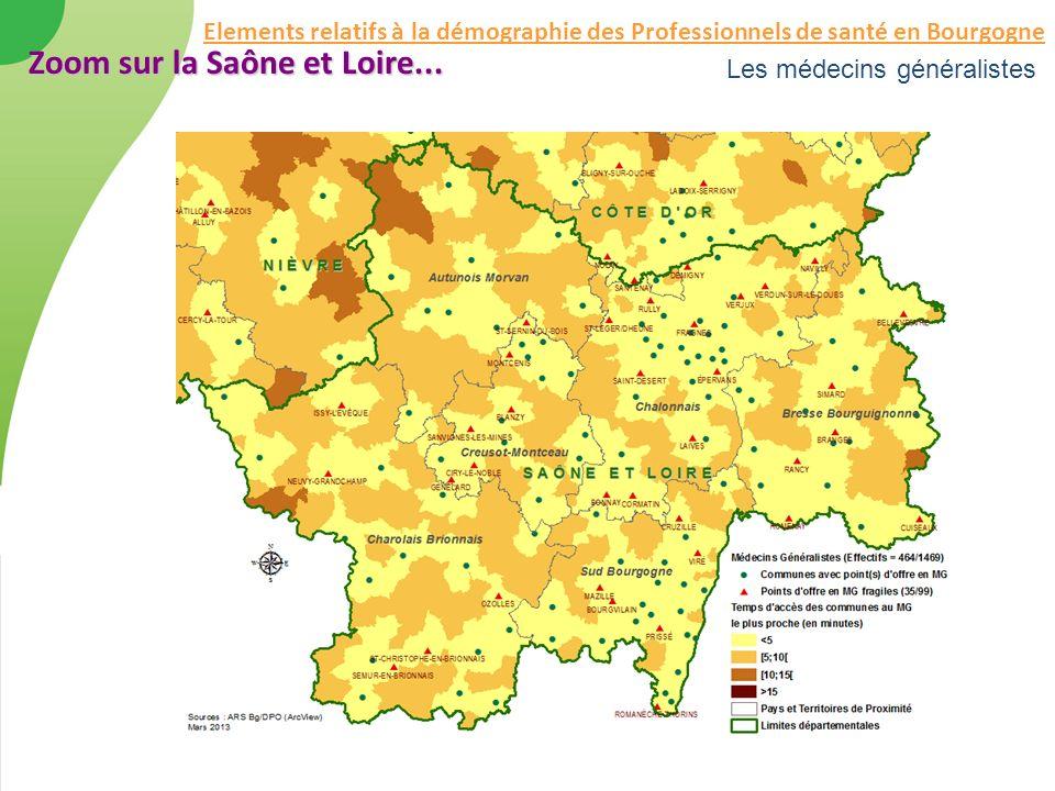 Les médecins généralistes Zoom sur la Saône et Loire... Elements relatifs à la démographie des Professionnels de santé en Bourgogne