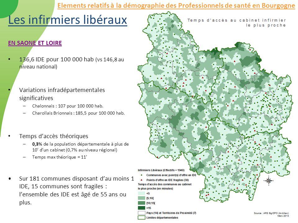 Les infirmiers libéraux EN SAONE ET LOIRE 136,6 IDE pour 100 000 hab (vs 146,8 au niveau national) Variations infradépartementales significatives – Ch