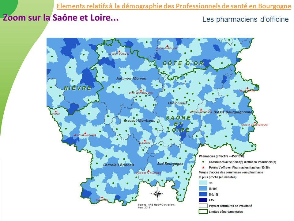 Les pharmaciens dofficine Zoom sur la Saône et Loire... Elements relatifs à la démographie des Professionnels de santé en Bourgogne