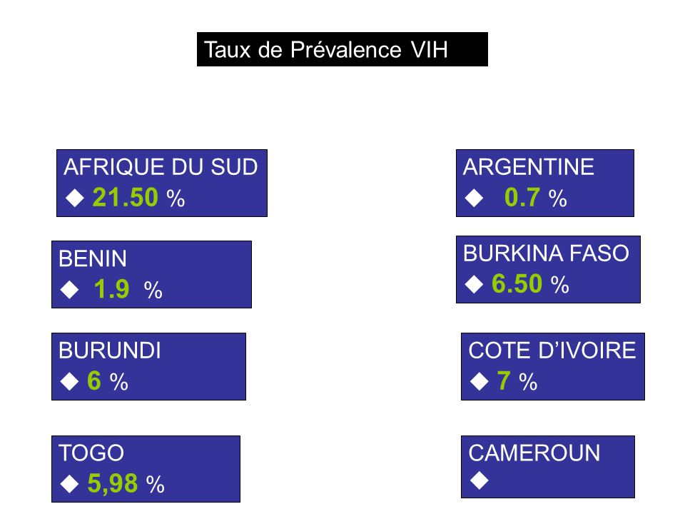 AFRIQUE DU SUD 21.50 % ARGENTINE 0.7 % BENIN 1.9 % BURKINA FASO 6.50 % BURUNDI 6 % COTE DIVOIRE 7 % CAMEROUN TOGO 5,98 % Taux de Prévalence VIH