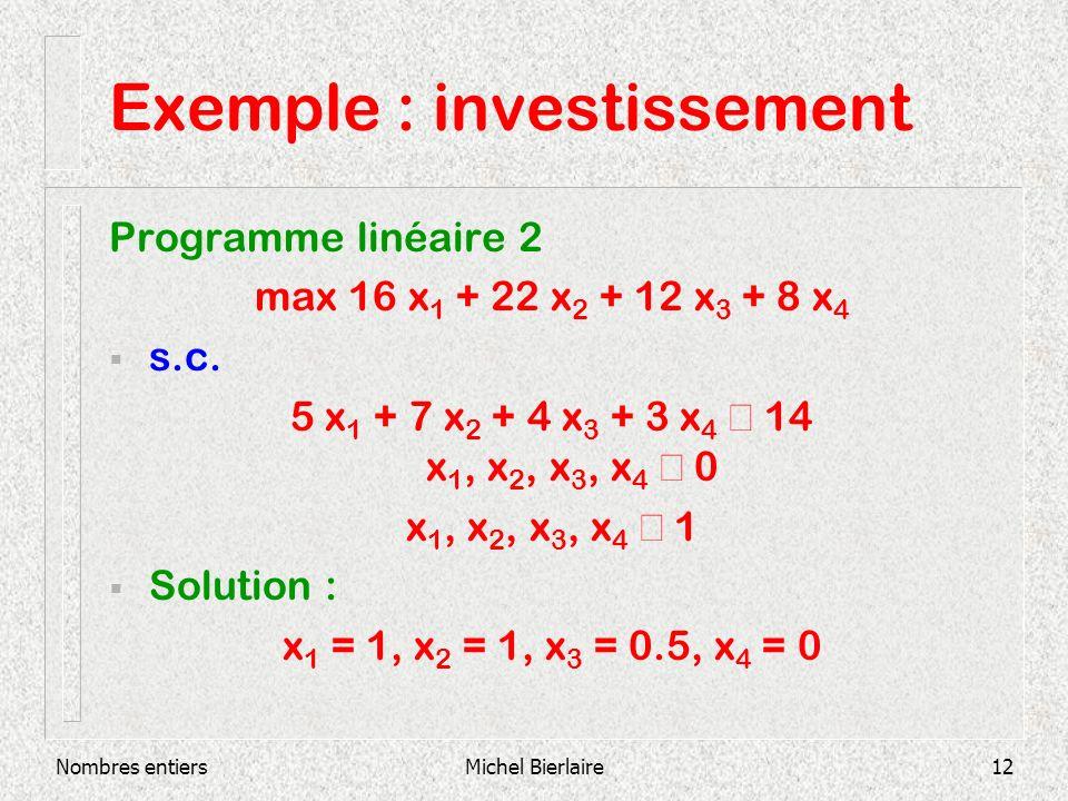 Nombres entiersMichel Bierlaire12 Exemple : investissement Programme linéaire 2 max 16 x 1 + 22 x 2 + 12 x 3 + 8 x 4 s.c.