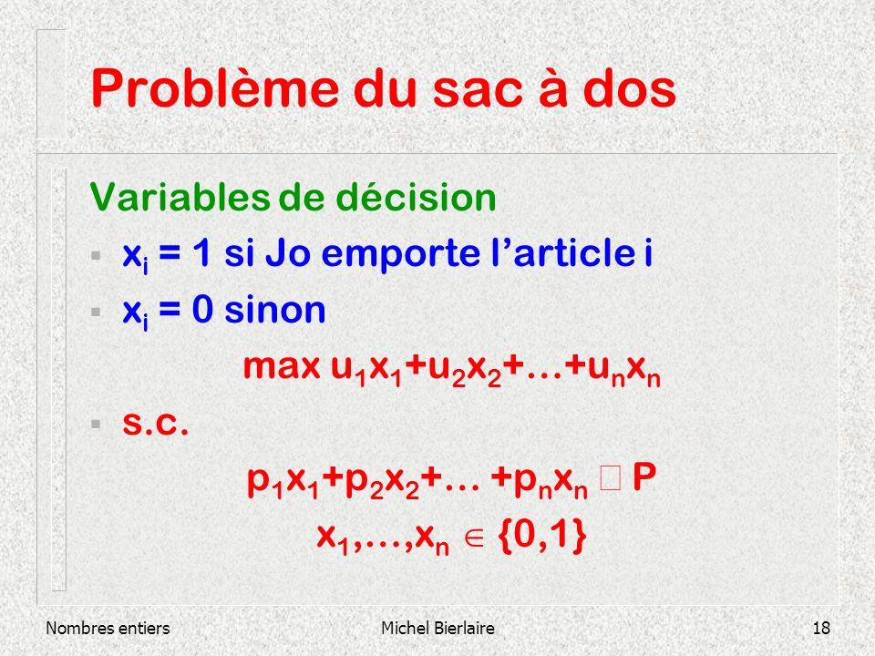 Nombres entiersMichel Bierlaire18 Problème du sac à dos Variables de décision x i = 1 si Jo emporte larticle i x i = 0 sinon max u 1 x 1 +u 2 x 2 +…+u n x n s.c.