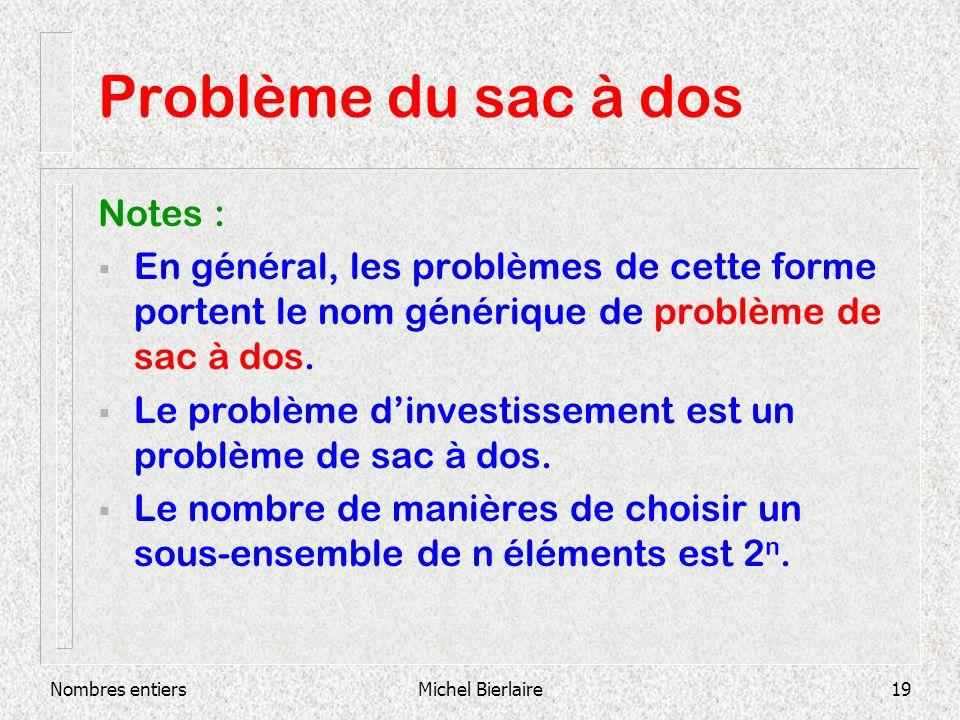 Nombres entiersMichel Bierlaire19 Problème du sac à dos Notes : En général, les problèmes de cette forme portent le nom générique de problème de sac à dos.