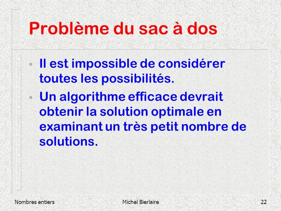 Nombres entiersMichel Bierlaire22 Problème du sac à dos Il est impossible de considérer toutes les possibilités.