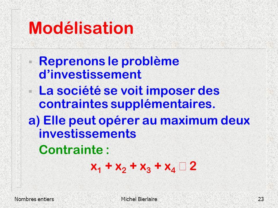 Nombres entiersMichel Bierlaire23 Modélisation Reprenons le problème dinvestissement La société se voit imposer des contraintes supplémentaires.
