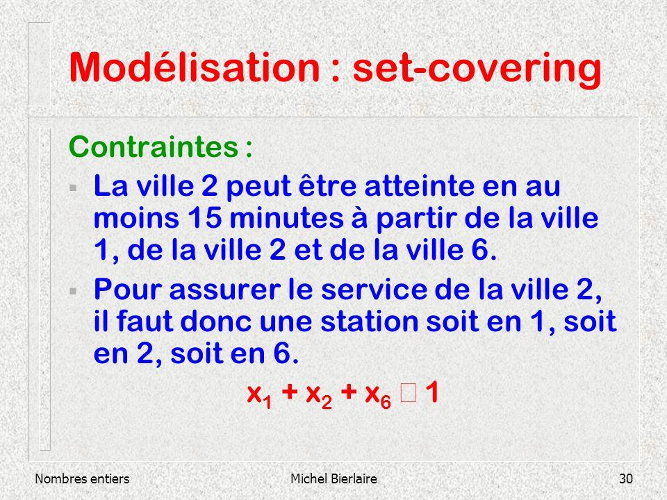 Nombres entiersMichel Bierlaire30 Modélisation : set-covering Contraintes : La ville 2 peut être atteinte en au moins 15 minutes à partir de la ville 1, de la ville 2 et de la ville 6.