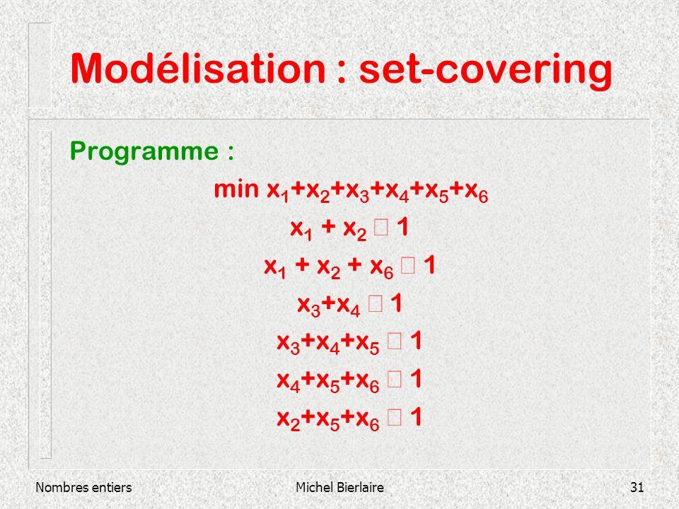 Nombres entiersMichel Bierlaire31 Modélisation : set-covering Programme : min x 1 +x 2 +x 3 +x 4 +x 5 +x 6 x 1 + x 2 1 x 1 + x 2 + x 6 1 x 3 +x 4 1 x 3 +x 4 +x 5 1 x 4 +x 5 +x 6 1 x 2 +x 5 +x 6 1