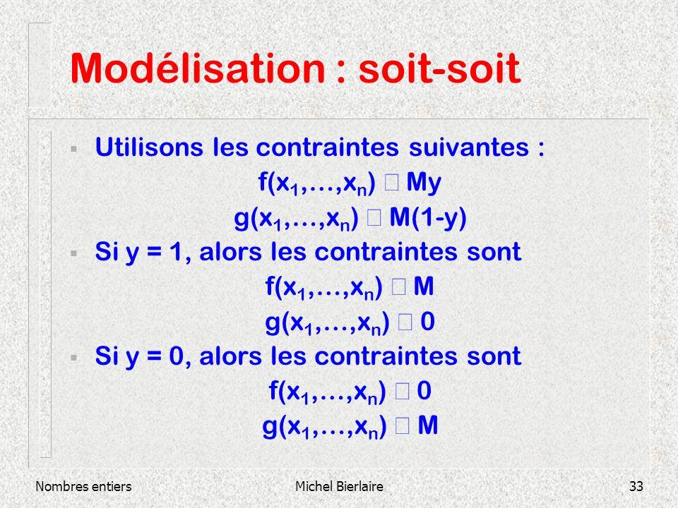 Nombres entiersMichel Bierlaire33 Modélisation : soit-soit Utilisons les contraintes suivantes : f(x 1,…,x n ) My g(x 1,…,x n ) M(1-y) Si y = 1, alors les contraintes sont f(x 1,…,x n ) M g(x 1,…,x n ) 0 Si y = 0, alors les contraintes sont f(x 1,…,x n ) 0 g(x 1,…,x n ) M