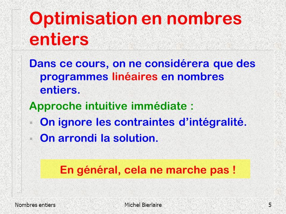 Nombres entiersMichel Bierlaire26 Modélisation : set-covering Problème : localisation de stations dincendie dans six villes.