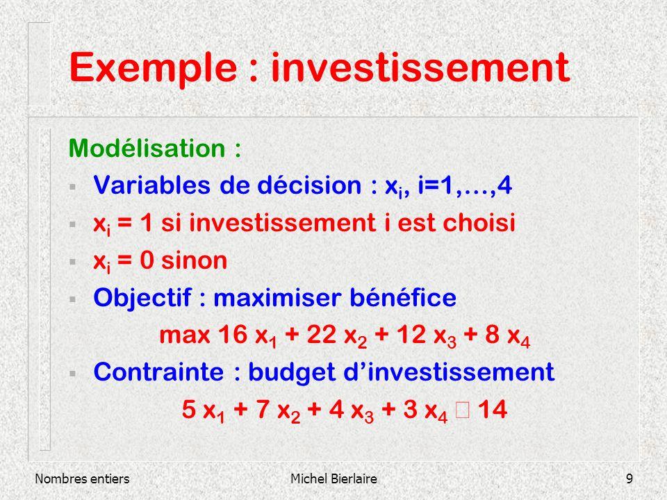 Nombres entiersMichel Bierlaire10 Exemple : investissement Programme linéaire 1 max 16 x 1 + 22 x 2 + 12 x 3 + 8 x 4 s.c.