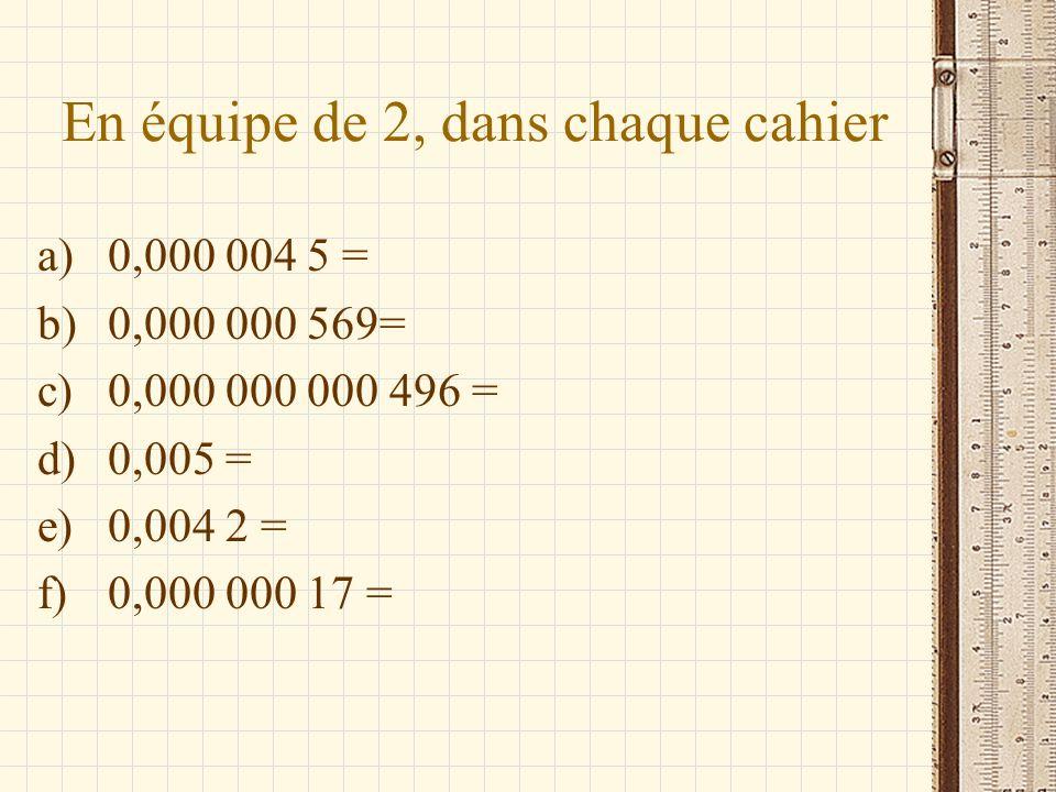 En équipe de 2, dans chaque cahier a)0,000 004 5 = b)0,000 000 569= c)0,000 000 000 496 = d)0,005 = e)0,004 2 = f)0,000 000 17 =