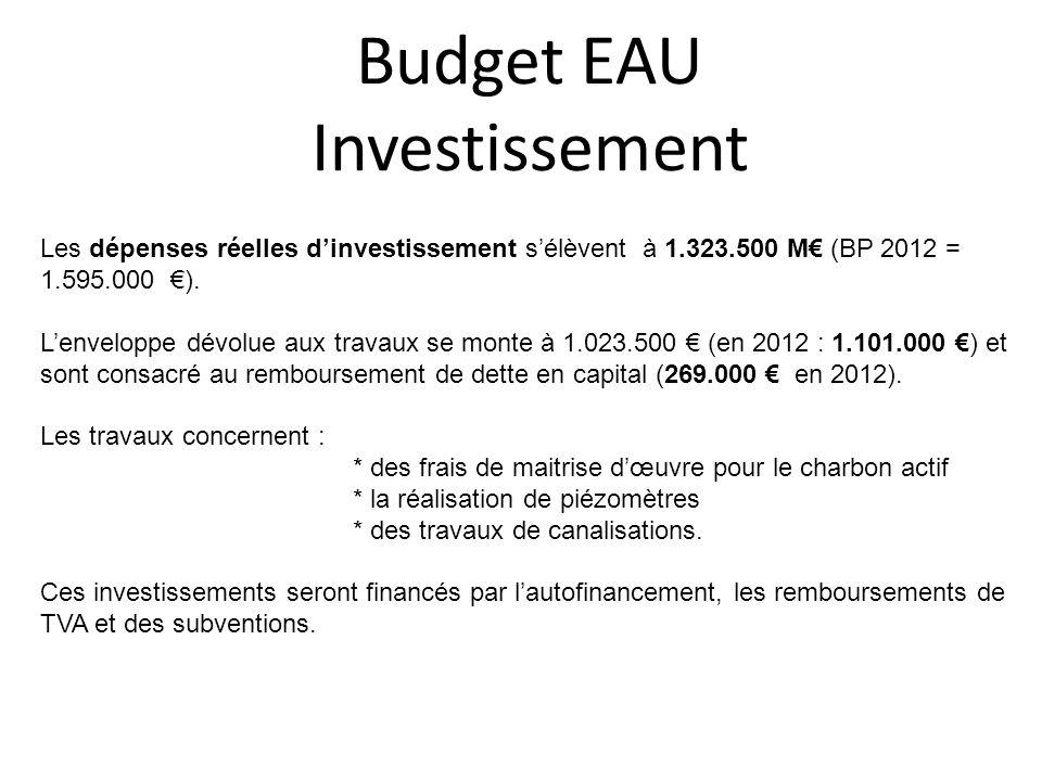 Budget EAU Investissement Les dépenses réelles dinvestissement sélèvent à 1.323.500 M (BP 2012 = 1.595.000 ). Lenveloppe dévolue aux travaux se monte