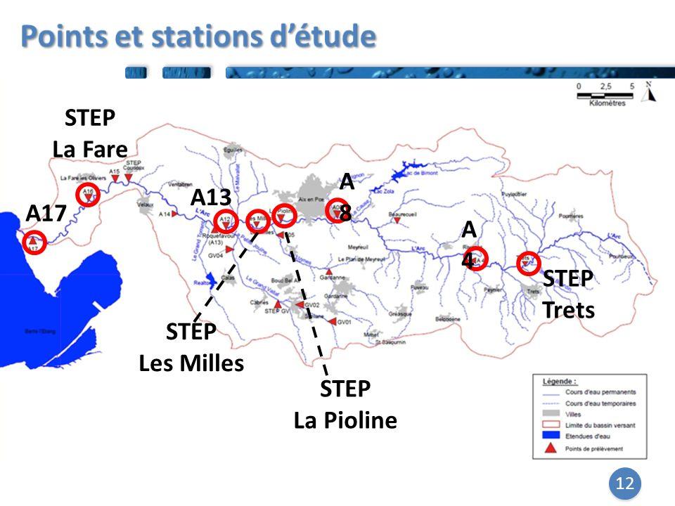 12 A8A8 A4A4 STEP Trets STEP Les Milles STEP La Fare A17 STEP La Pioline A13