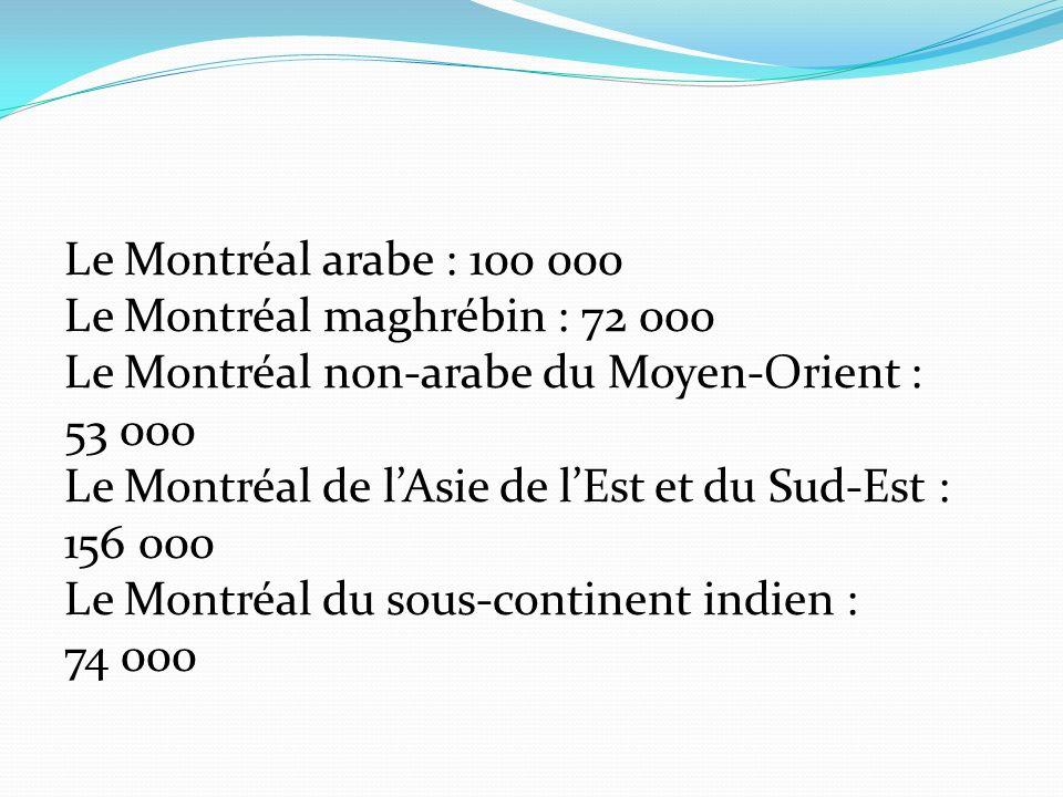 Le Montréal arabe : 100 000 Le Montréal maghrébin : 72 000 Le Montréal non-arabe du Moyen-Orient : 53 000 Le Montréal de lAsie de lEst et du Sud-Est : 156 000 Le Montréal du sous-continent indien : 74 000