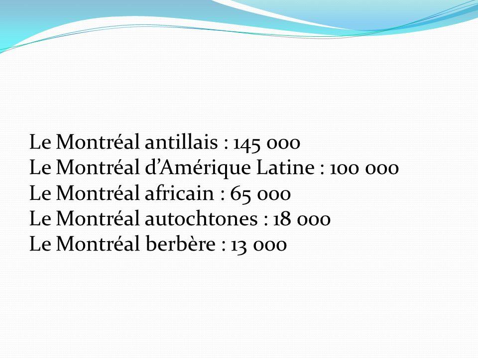 Le Montréal antillais : 145 000 Le Montréal dAmérique Latine : 100 000 Le Montréal africain : 65 000 Le Montréal autochtones : 18 000 Le Montréal berbère : 13 000