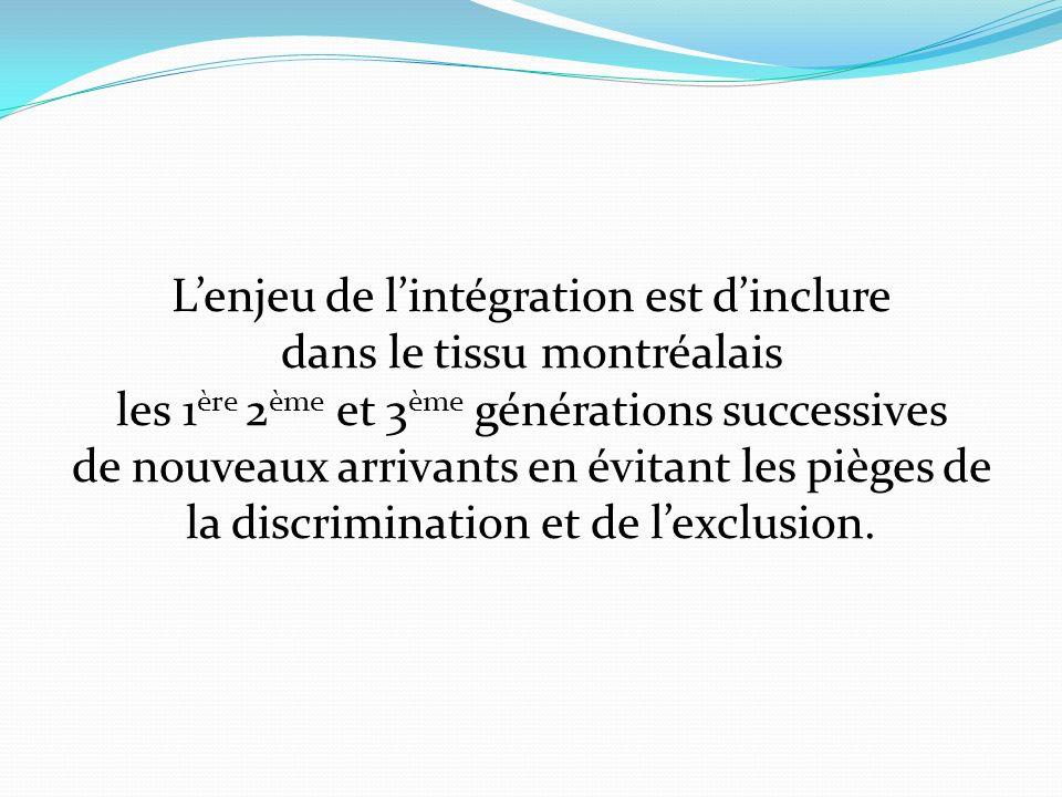 Lenjeu de lintégration est dinclure dans le tissu montréalais les 1 ère 2 ème et 3 ème générations successives de nouveaux arrivants en évitant les pièges de la discrimination et de lexclusion.