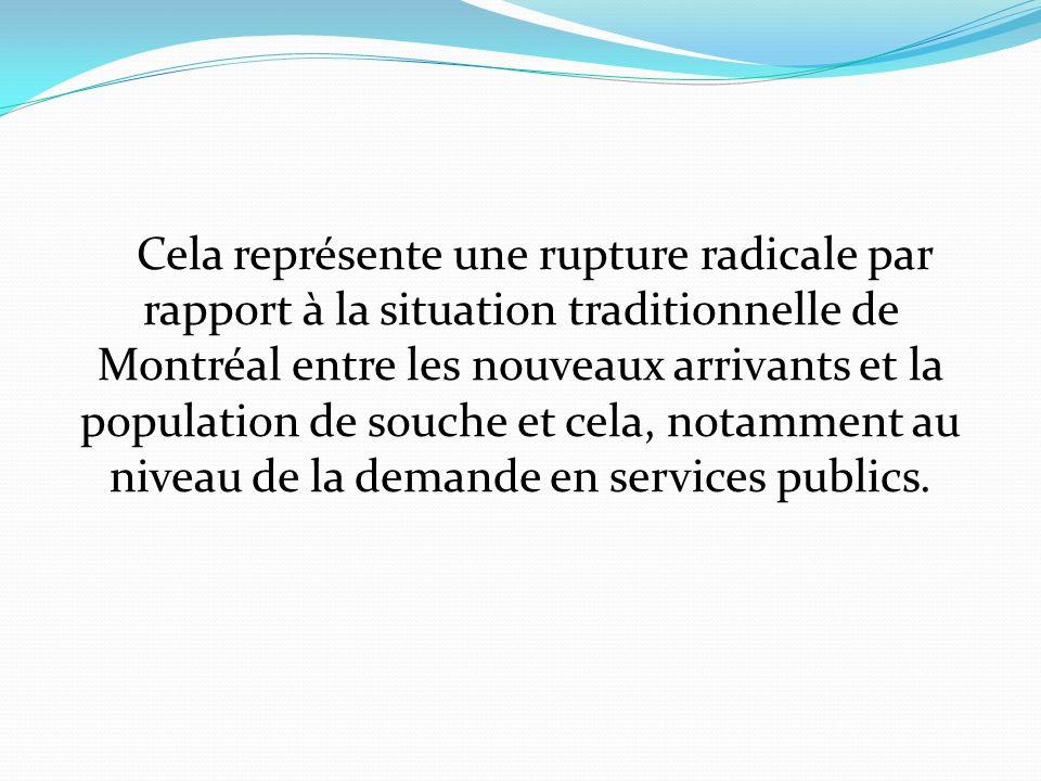 Cela représente une rupture radicale par rapport à la situation traditionnelle de Montréal entre les nouveaux arrivants et la population de souche et cela, notamment au niveau de la demande en services publics.