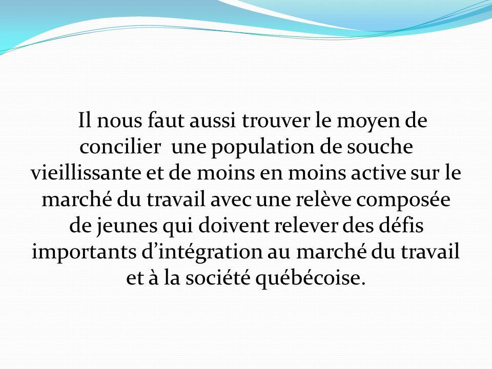 Il nous faut aussi trouver le moyen de concilier une population de souche vieillissante et de moins en moins active sur le marché du travail avec une relève composée de jeunes qui doivent relever des défis importants dintégration au marché du travail et à la société québécoise.