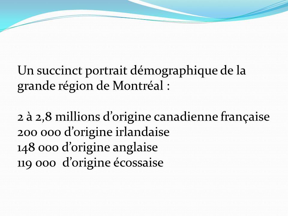 Un succinct portrait démographique de la grande région de Montréal : 2 à 2,8 millions dorigine canadienne française 200 000 dorigine irlandaise 148 000 dorigine anglaise 119 000 dorigine écossaise