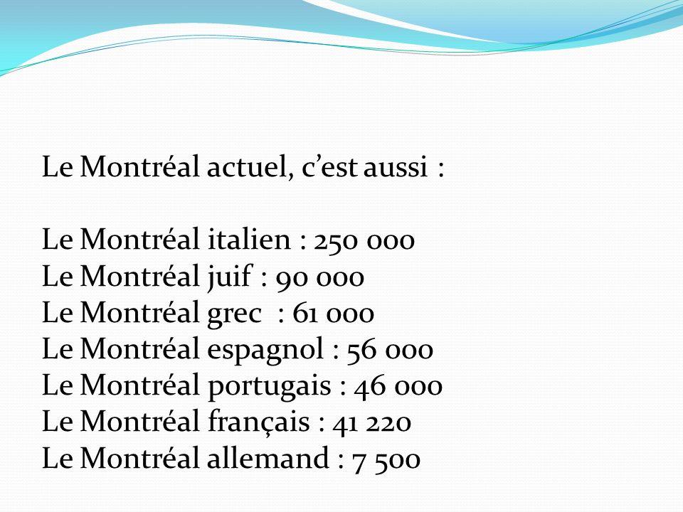 Le Montréal actuel, cest aussi : Le Montréal italien : 250 000 Le Montréal juif : 90 000 Le Montréal grec : 61 000 Le Montréal espagnol : 56 000 Le Montréal portugais : 46 000 Le Montréal français : 41 220 Le Montréal allemand : 7 500