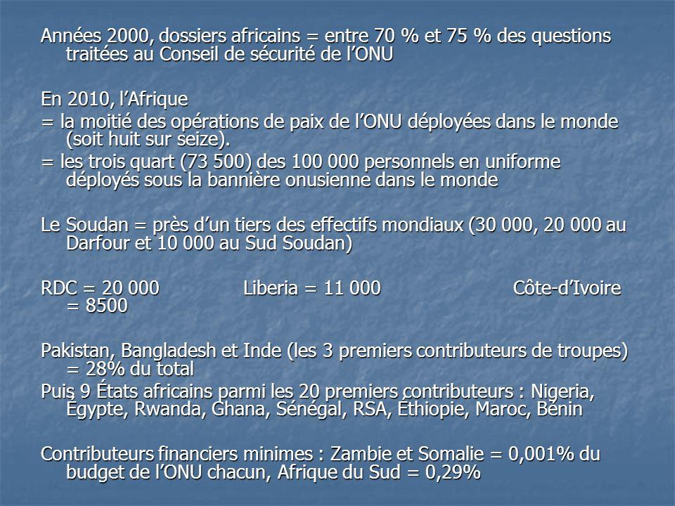 Années 2000, dossiers africains = entre 70 % et 75 % des questions traitées au Conseil de sécurité de lONU En 2010, lAfrique = la moitié des opérations de paix de lONU déployées dans le monde (soit huit sur seize).