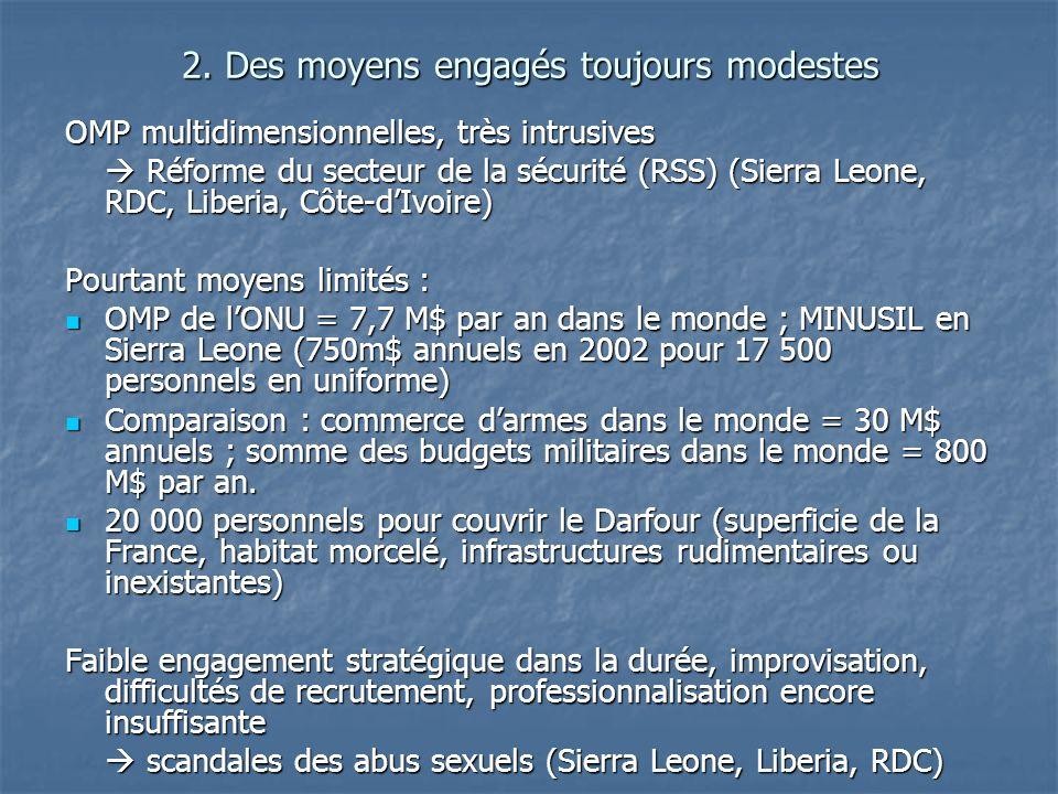 2. Des moyens engagés toujours modestes OMP multidimensionnelles, très intrusives Réforme du secteur de la sécurité (RSS) (Sierra Leone, RDC, Liberia,