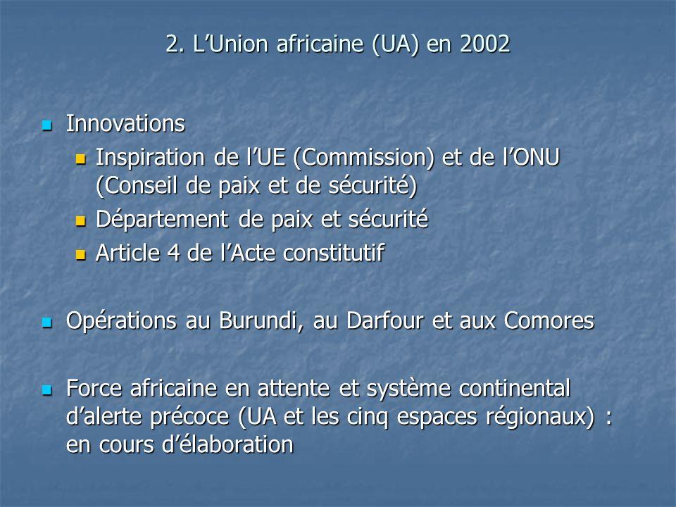 2. LUnion africaine (UA) en 2002 Innovations Innovations Inspiration de lUE (Commission) et de lONU (Conseil de paix et de sécurité) Inspiration de lU