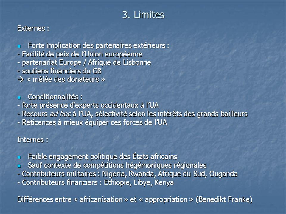 3. Limites Externes : Forte implication des partenaires extérieurs : Forte implication des partenaires extérieurs : - Facilité de paix de lUnion europ