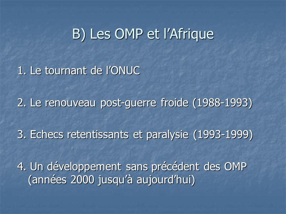 B) Les OMP et lAfrique 1. Le tournant de lONUC 2. Le renouveau post-guerre froide (1988-1993) 3. Echecs retentissants et paralysie (1993-1999) 4. Un d